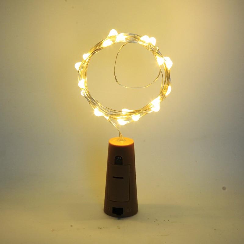 Feriado Luz LED string 3M 2M 1M Série Lâmpada LED Criativo Caixa de Bateria Da Tecla de Cobre Mini natal luzes Decorativas 7 Cor