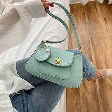 Fashion Solid Color Quality PU Leather Shoulder Bags For Women Stone Pattern Han