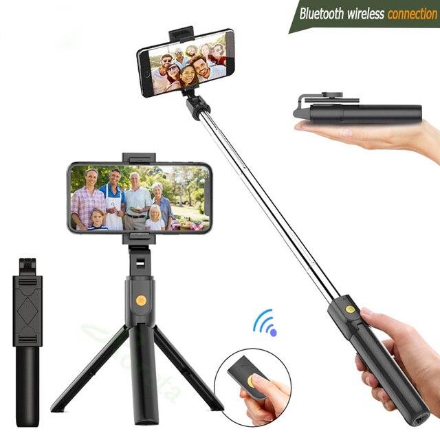3 in 1 무선 블루투스 selfie 스틱 접이식 아이폰 화웨이 삼성 미니 삼각대 확장 가능한 모노 포드 원격 제어