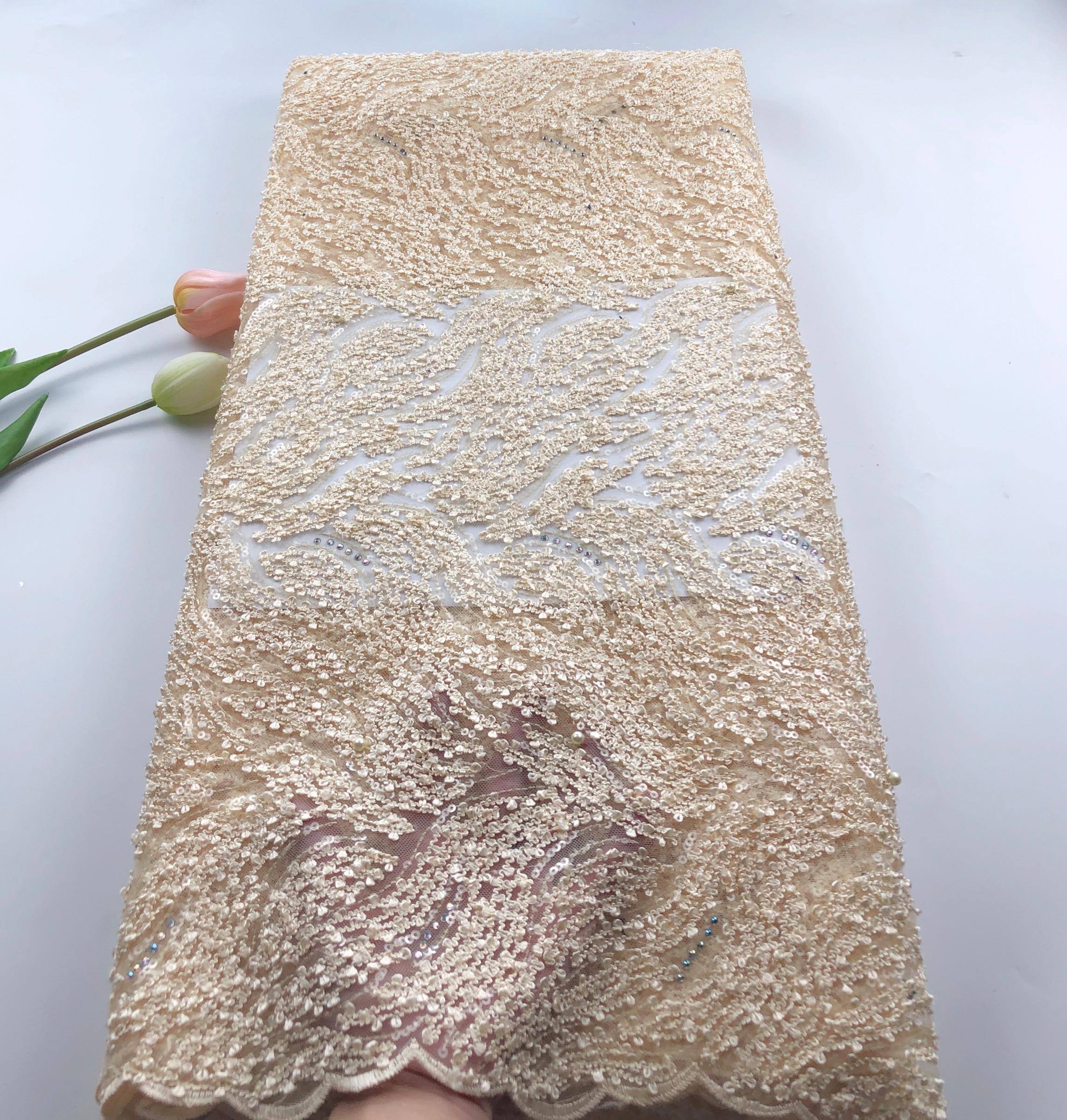 Новая мода африканская сетка тюль кружевная ткань с блестками 5 ярдов африканская французская кружевная ткань с блестками QCOC221 - 4