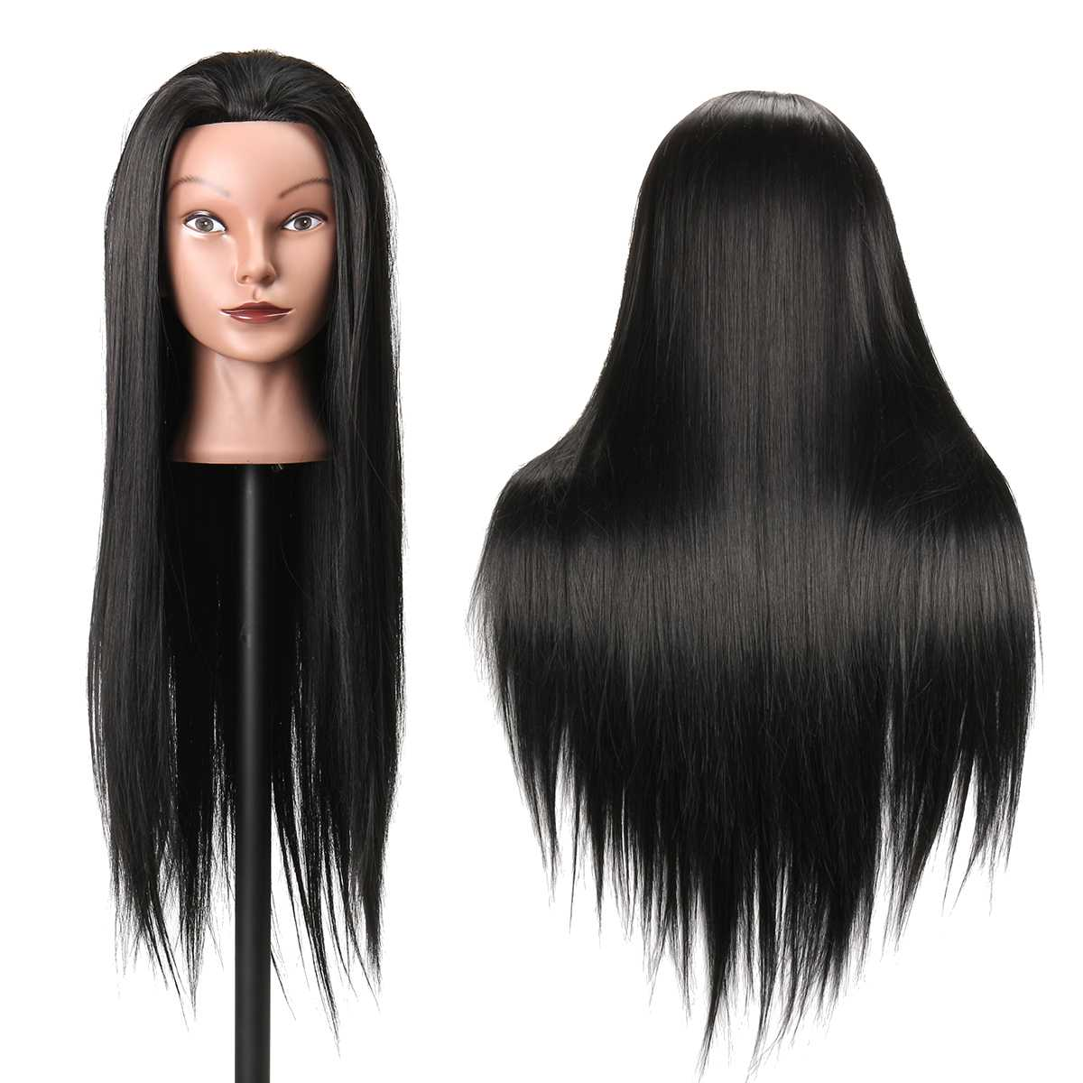 27 Inches 30% Real Hair Training Mannequin Head Black Hair Hairdressing Dummy Doll Human Heads Model For Salon Practice New 2020