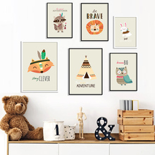 Fox Lion Owl Rabbit Raccoon Tent Quotes Cartoon Nordic Posters And Prints Wall Art Canvas Painting Wall Pictures Kids Room Decor цена и фото