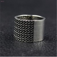 2019 news style fashion Half chain half aperture ring S925 pure silver simple versatile index finger ring for men