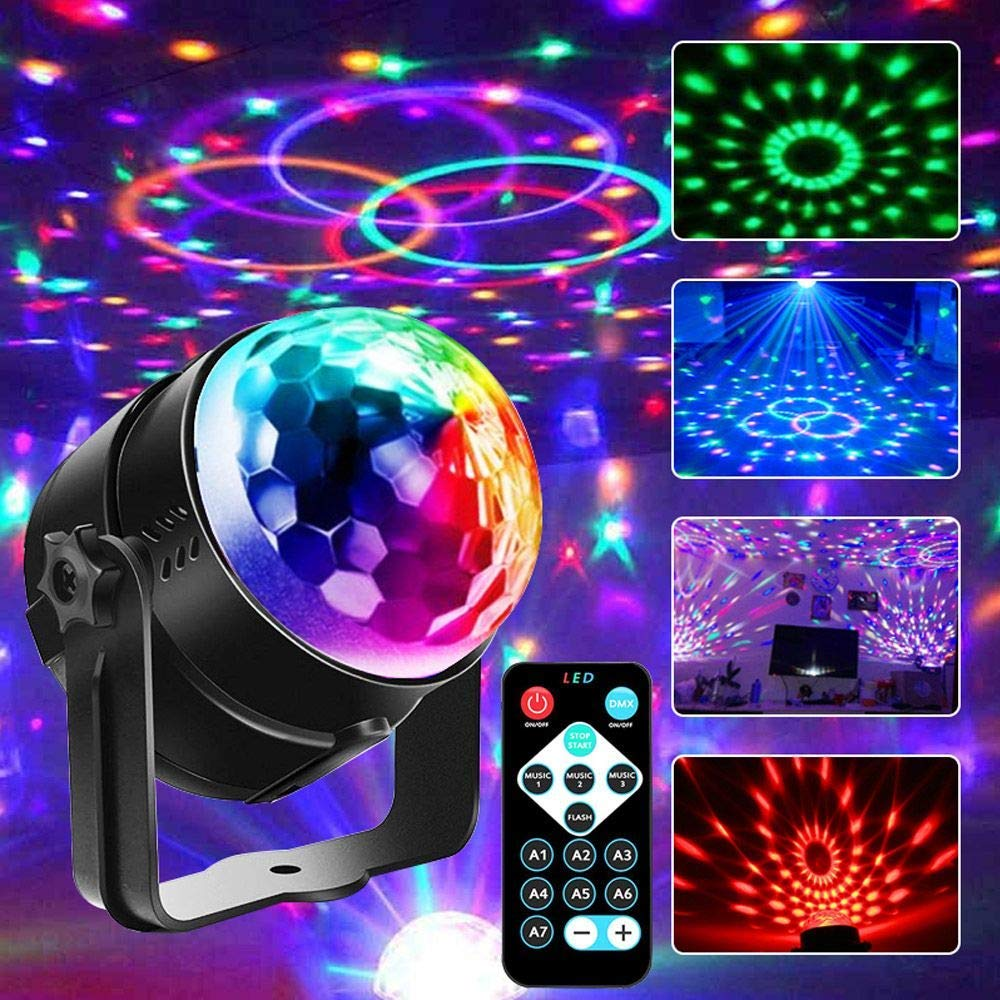 Sound Activated Rotating Disco Ball DJ Party Lights 3W RGB LED Stage Lights Strobe Light For Festival Birthday Christmas Wedding