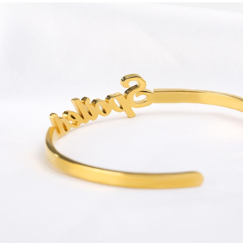 Custom Name Bracelet Silver Gold Chain Stainless Steel Nameplate Bracelets Personalized Bangles For Women Men Kids Gift For Her