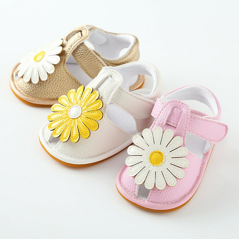 Princess Baby Kids Girls Flower Soft Sole Crib Toddler Soft Sole Prewalkers Summer Sandals Shoes PU Leather Booties Sunflower