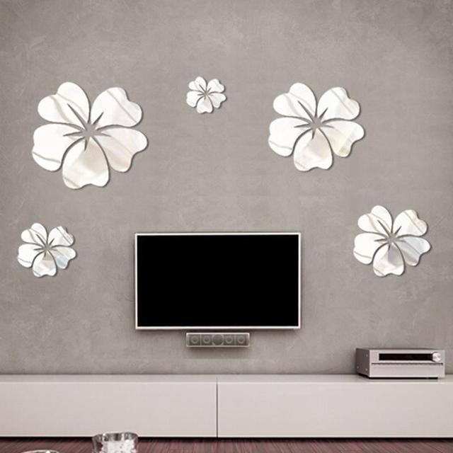 5 Pcs Hibiscus Flower Background Wall Stickers 3D Home Decoration Wall Art DIY Silver Mirror Wall Decorative Home Accessories 2