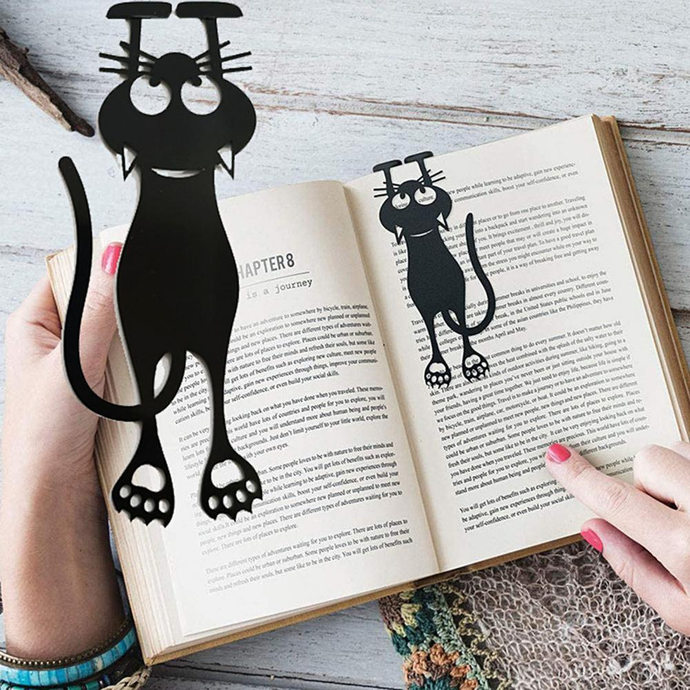 HOT SALES!!Creative Funny Hollow Cat Pattern Book Page Bookmark Stationery Learning Supply