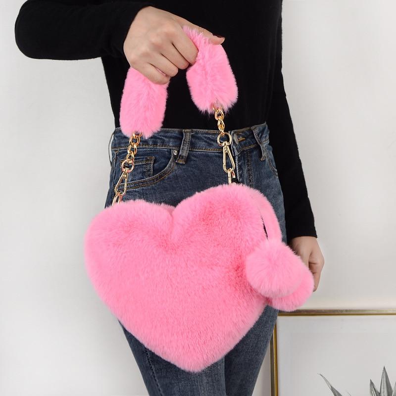 Однотонные зимние сумки на плечо из искусственного меха сумки через плечо в форме сердца для женщин сумка-мессенджер маленькие женские сум...