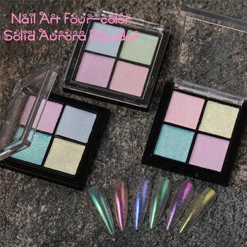 Aurora Pink Fairy stały proszek do paznokci 4 kolorowe lustro Chrome Pigment brokatowy do paznokci kurz pałeczka z gąbką metalowe ozdabianie paznokci tanie i dobre opinie CN (pochodzenie) 1pcs power YZ0002