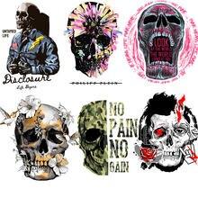 Patchs thermo-sensibles à la chaleur, crâne Punk à rayures, autocollants appliqués sur vêtements, fer sur transferts pour vêtements personnalisés G1
