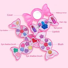 лучшая цена Cute Candy Box Children Cosmetics Makeup Set Princess Girl Eyeshadow Lip Gloss Brushes Kit Pretend Play Toys Children Gift E65D