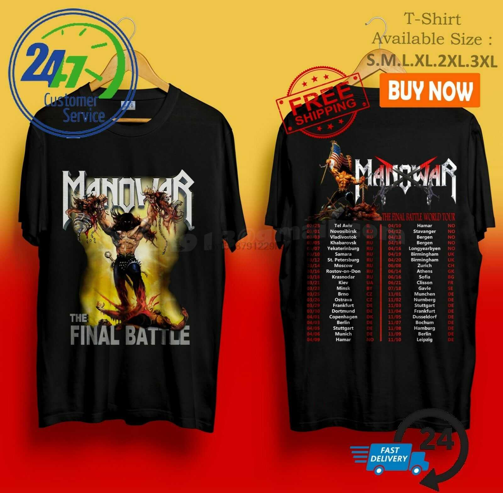 Manowar la batalla Final Tour Usa Tour negro Camiseta talla S-3Xl