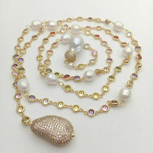 """49"""" White Keshi Pearl multi color Cz Pave Chain Long Necklace"""