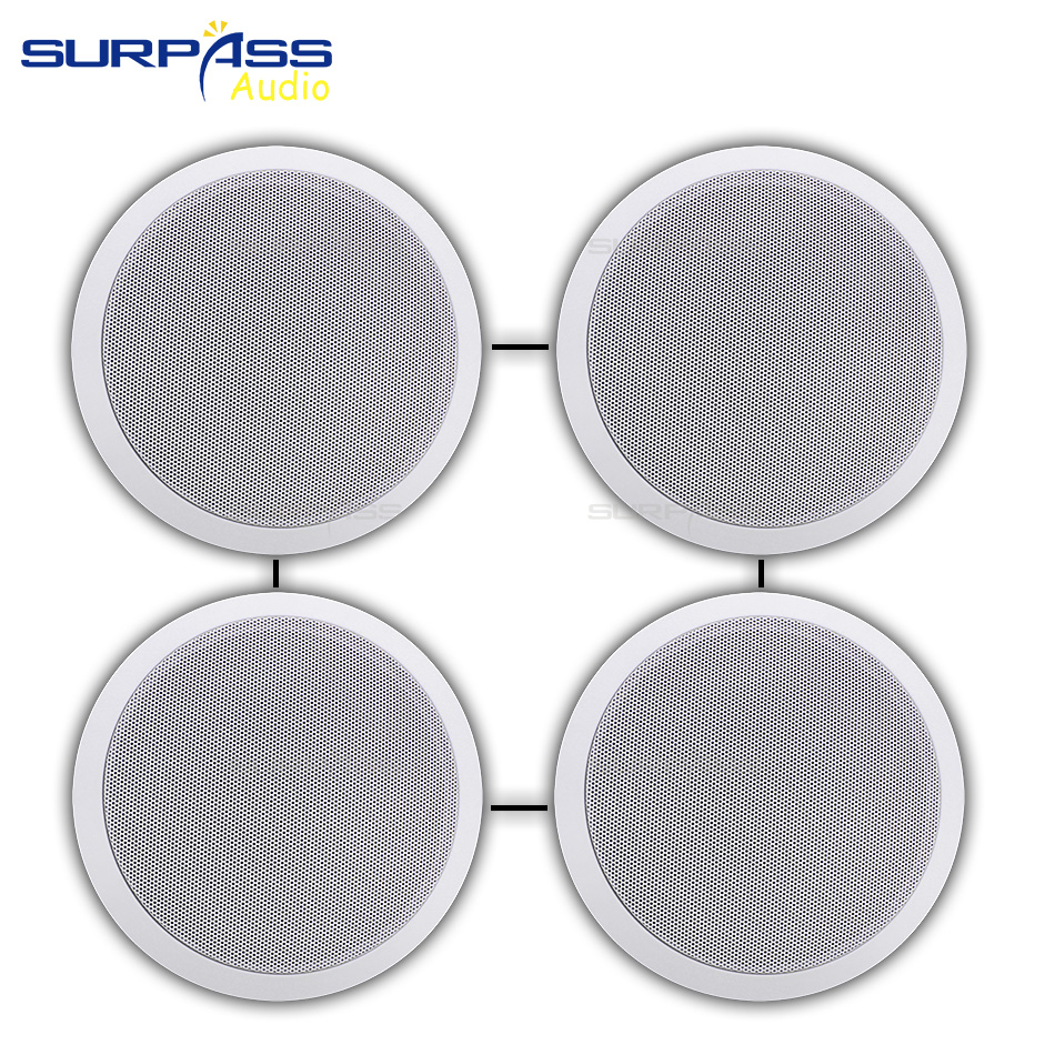 4PCS Power Output Wall Mounted In-Ceiling Speakers Digital Smart Home Audio Loundspeaker Stereo Music Player Active Ceiling SPK 6