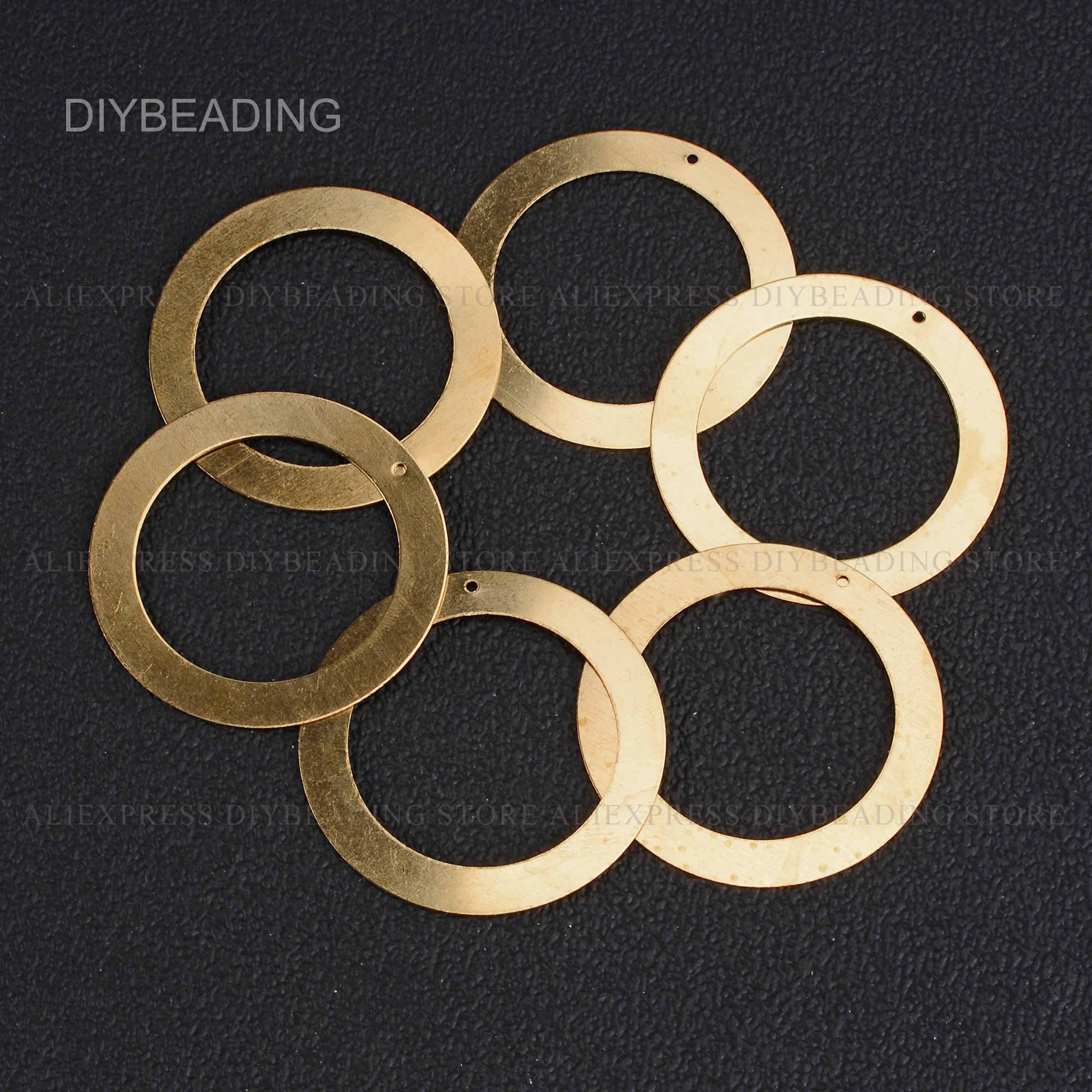 HT967 50pcs 15.4x9.88x1.95mm  Raw Brass Circle Charms,Wave Ring Pendant Geometric Charms,Brass Geometric Blank,DIY Jewelry Finding