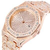 Männer Uhren Bling Alle Diamant Uhr Männer Rose gold Stahl Band herren Business Quarz Handgelenk Uhren Wasserdicht Relogio Masculino-in Quarz-Uhren aus Uhren bei
