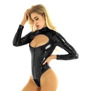 Image 3 - Moda damska damska wyglądające na mokre lakierowana skórzana bielizna Mock Neck długie rękawy piersi drążą trykot body bielizna nocna