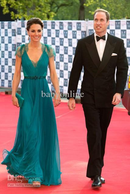 free shipping 2016 V Neck Cap Sleeves Evening Dresses vestidos formales long Kate middleton Jenny Packham blue Celebrity Dresses