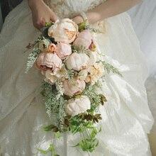 Cascada de seda peonía ramo de flores de boda para ramos de novia Vintage marfil Rosa flores artificiales ramo de novia Mariage
