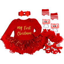 Costume Tutu-Dress Bebe Infant Christmas-Outfits Baby-Girls New-Year My 1st Red for 12M