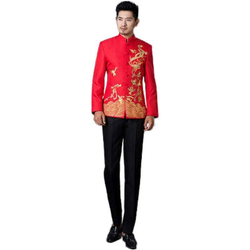 Stand Collar Clothes Men Suits Stage Costumes Cingers Jacket Chinese Tunic Suit Sequins Blazer Dance Star Style Dress Black