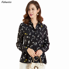 100% Natural Silk Blouse Women Long Sleeve Buttoned Kimono Cardigan Elegant Real Silk Black Shirt Pleated Ruffles Hem Shirt цена 2017