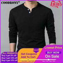 COODRONY T Shirt hommes, printemps automne 2019, à manches longues col Henry, T Shirt Slim de marque en coton pur, doux, 7625