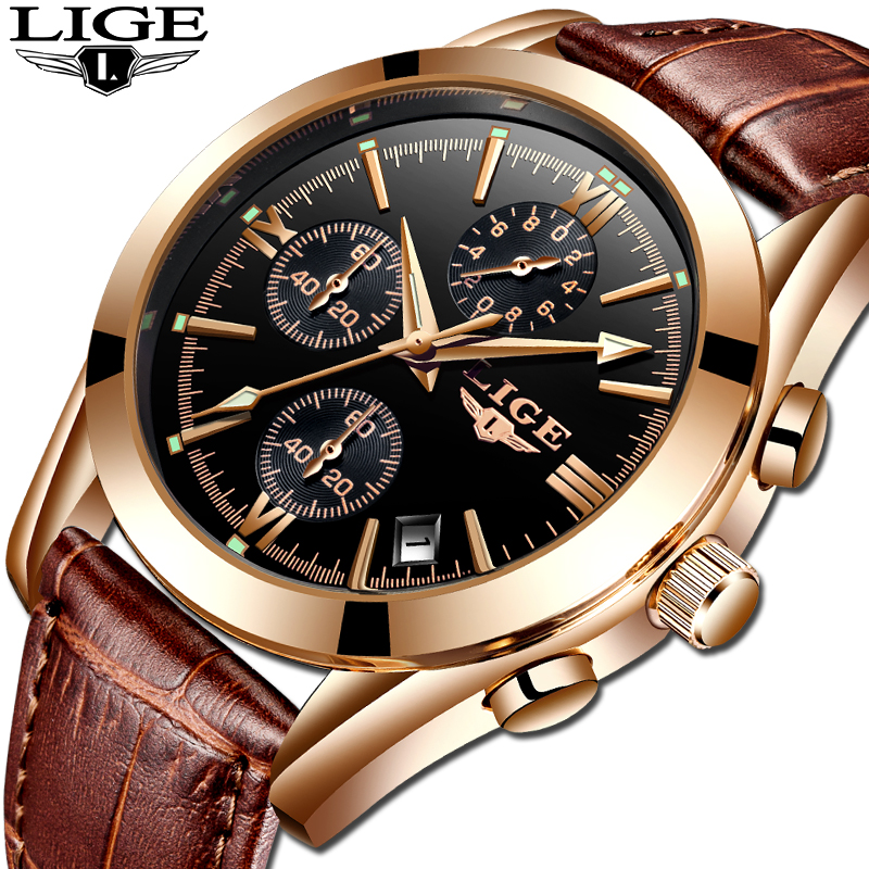 Image 5 - montre homme LIGE Fashion gold Mens Watch Leather Analog Quartz watches Men 30M Waterproof Sport Chronograph Date Male Clock+box-in Quartz Watches from Watches