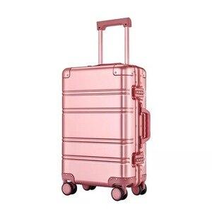 Image 3 - Alle aluminium magnesium legering trolley koffer mannen vrouwen 20/24 inch rolling bagage universele wiel boarding metal wachtwoord doos