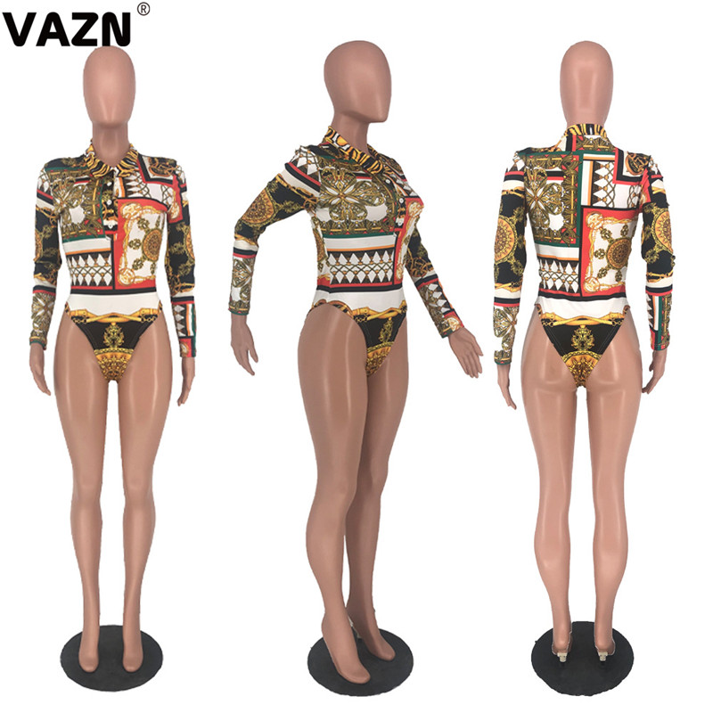 VAZN 2020 Special Fashion Rompers Womens Jumpsuit Sexy Fashion Long Sleeve Workout Sporty Playsuits