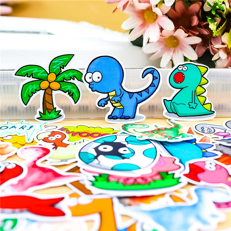 34 Pcs/lot Cartoon Dinosaur  Life Decorative Paper Sticker Decal For Phone Car Laptop Album Diary Backpack Kids Toy Stickers