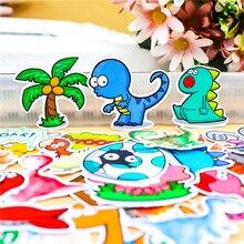 Autocollant de dessin animé vie de dinosaure, étiquette décorative en papier pour téléphone, voiture, ordinateur portable, Album, sac à dos, jouet pour enfants, 34 pièces/lot
