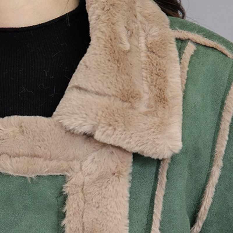 Nuevo coreano Harajuku chaqueta de gamuza sólida para mujer chaquetas de invierno grueso cálido abrigo de cuero de imitación largo moda femenina Parkas prendas de vestir exteriores