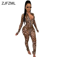 Leopard Print Sexy Rompers Womens Jumpsuit Deep V Neck Full Sleeve One Piece Ove