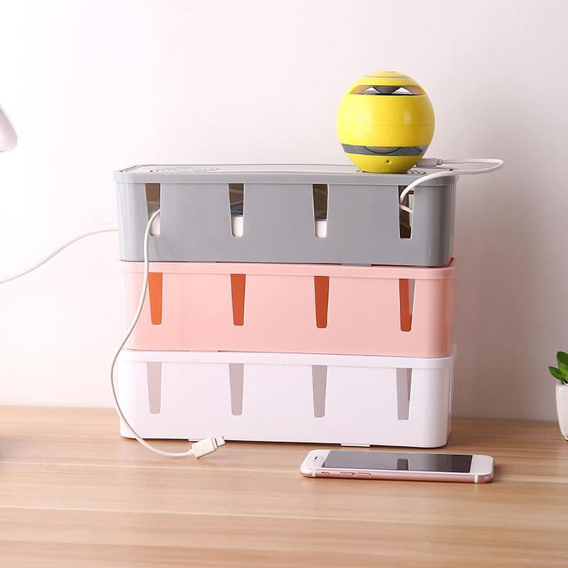 Plug Cable Storage Box Wire Management Socket Tidy Organizer Home Container Data Power Cord Finishing Box Home Decor