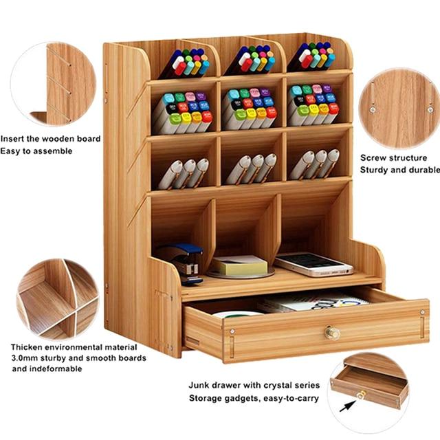 Organisateur multifonctionnel de bureau en bois, support de rangement pour fournitures de bureau et fournitures de bureau maison stylo bricolage boîte de support