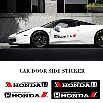 2PCS Car Door Side Stickers Car Body Decal For Honda Mugen Power Honda Civic Accord CRV Hrv Fit Jazz Car Styling Accessories metal 3d car feder trunk sticker vtec logo badge decal chrome accessories for honda civic accord odyssey spirior crv car styling