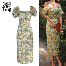 Tingfly Vintage Elegante Victoriaanse Puff Mouwen Party Diner Night Jurken Zomer Retro Vierkante Kraag Fitness Curve Sexy Midi Dres(China)
