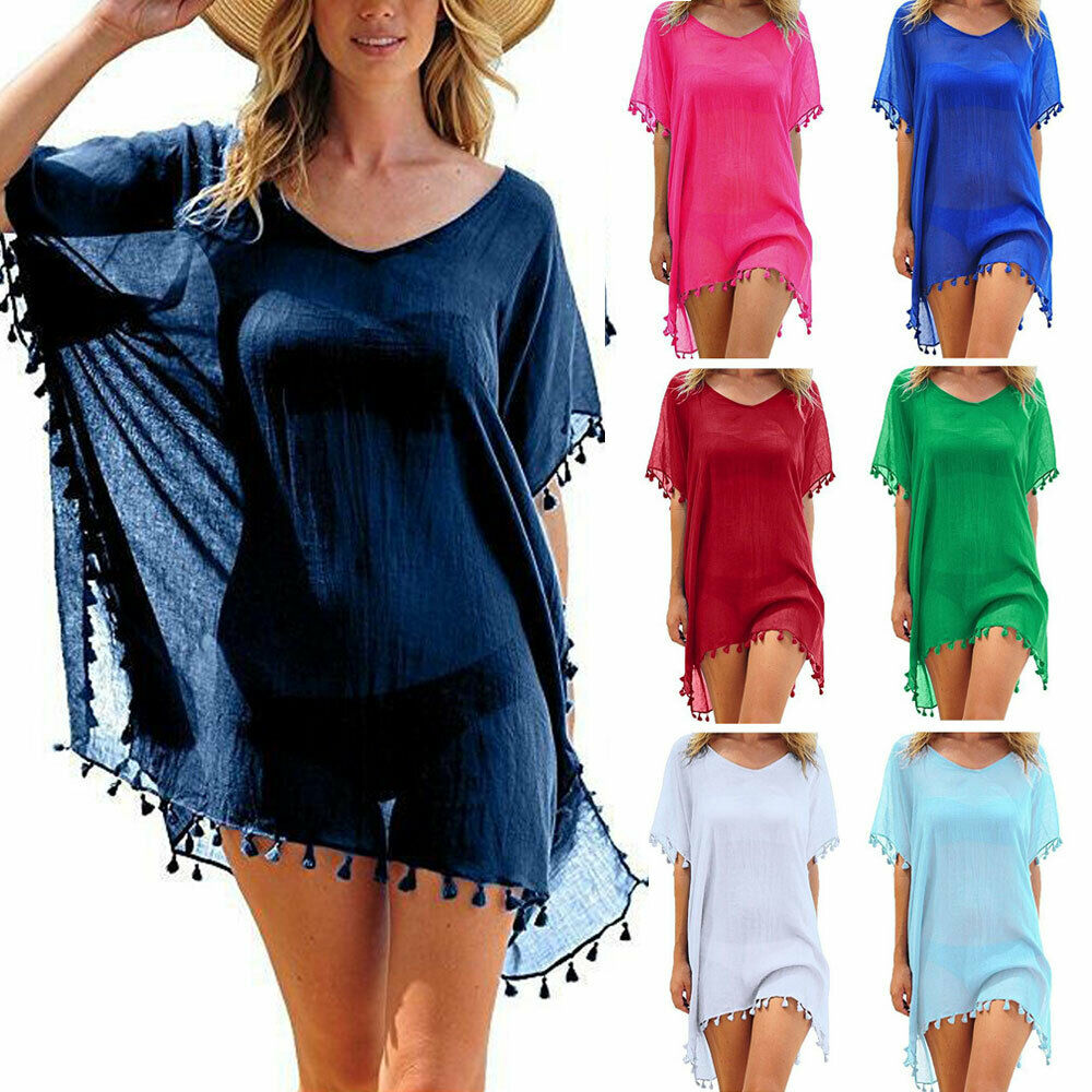 Hirigin Chiffon Tassels Beach Wear Women Swimsuit Cover Up Swimwear Bathing Suits Summer Mini Dress Loose Solid Pareo Cover Ups