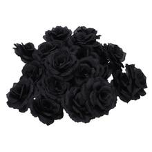 20 шт Черная роза из искусственного шелка Цветок вечерние свадебные Дом Офис сад Декор DIY
