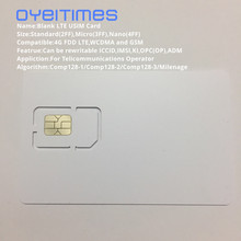 OYEITIMES 4G 128K Programable Blank SIM Card GSM WCDMA LTE 2FF/3FF/4FF With ICCID IMSI KI OPC(OP) For Operator