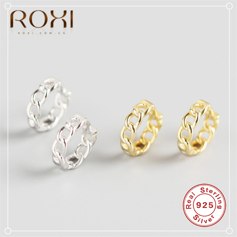 ROXI Unique Chain Stud Earrings Minimalist 925 Sterling Silver Chunky Chain Round Circle Earrings for Women Jewelry Punk Earring