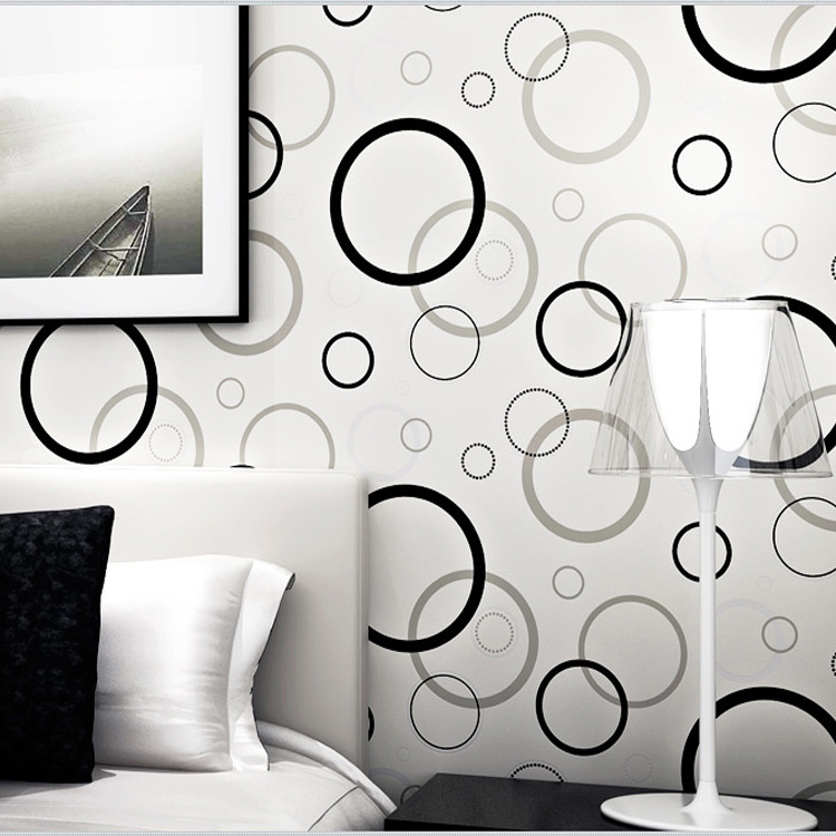 Modern Minimalist Cartoon 3D Black And White Circled Non-woven Wallpaper CHILDREN'S Room Boys And Girls Bedroom Wallpaper