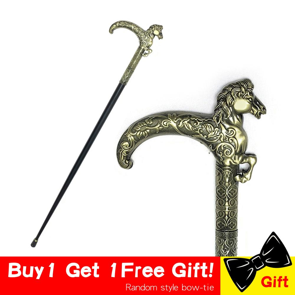 97cm Fashion Walking Stick Cane Horse Head Metal Walking Cane Crutch Gentle Bronze Horse Walking Canes Man Canes Crutch For Men