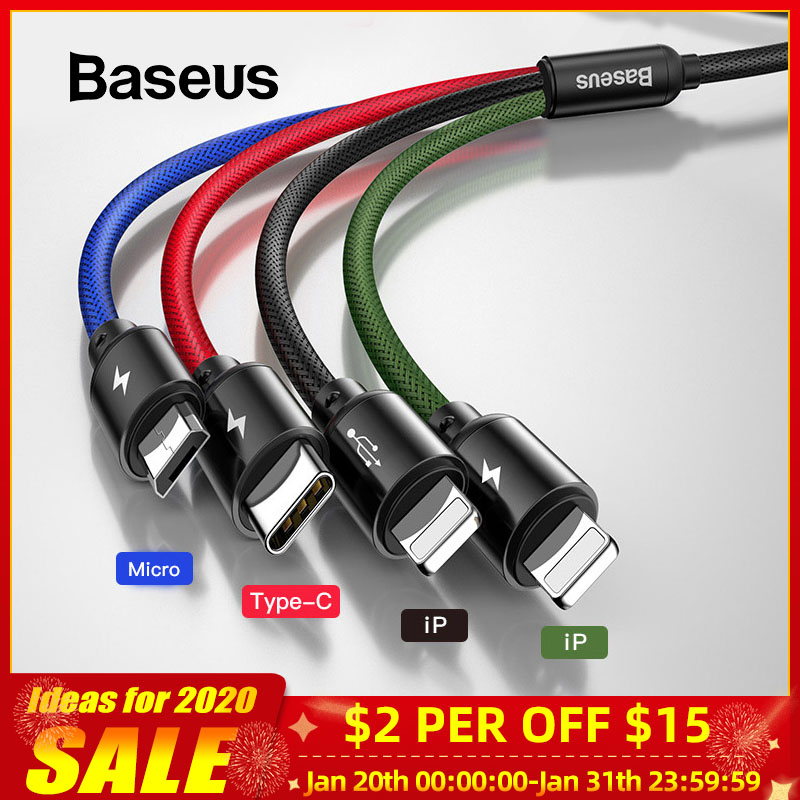 Baseus <font><b>USB</b></font> <font><b>Cable</b></font> for iPhone Xs Max XR X 4 in 1 Charge <font><b>Cable</b></font> <font><b>USB</b></font> Type C for <font><b>Samsung</b></font> <font><b>S9</b></font> S10 Micro <font><b>USB</b></font> <font><b>Cable</b></font> Type C Wire Cord image