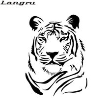 Langru 20x15.1cm Personality Male Tiger Head Vinyl Graphics Decals Car Motorcycle Sticker Accessories Jdm(China)