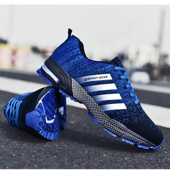 Modne męskie buty przenośne oddychające buty do biegania 46 duże rozmiary trampki wygodne spacery Jogging obuwie 48 tanie i dobre opinie damyuan Odpowiedź poduszki Stabilność Hard court Początkujący Mesh (air mesh) Średnie (b m) Niskie Running Shoes