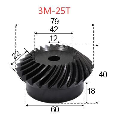 2pcs 3M-25Teeths Inner Hole: 12mm Precision Spiral Bevel Gear Spiral Bevel Gear