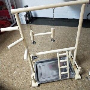 Image 4 - Soportes de juegos en madera para loros, juguetes de taza con bandeja de columpio para aves, puente con escaleras colgantes de 53x23x36cm para escalar estilo parque